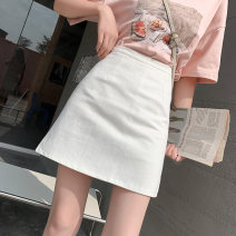 skirt Summer 2021 S M L XL 2XL Black blue white Short skirt commute High waist Denim skirt Solid color Type A 25-29 years old DH-2105 More than 95% Denim SHMO other Splicing Korean version Other 100% 161g / m ^ 2 (including) - 180g / m ^ 2 (including)