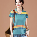 T-shirt Lake blue stripe M,L,XL Summer 2021 Short sleeve V-neck easy Regular routine commute cotton 96% and above 25-29 years old Korean version originality Brother amashi SW5681