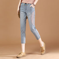 Jeans Summer 2021 Light grey blue XL,L,M Cropped Trousers Natural waist Straight pants Thin money 25-29 years old Wash, whiten and apply cloth Cotton denim light colour Brother amashi 51% (inclusive) - 70% (inclusive)