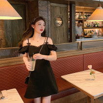 Dress Spring 2021 black S,M,L,XL Short skirt singleton  Short sleeve commute One word collar High waist Solid color Socket A-line skirt routine camisole 18-24 years old Type A Mukati Korean version Splicing A2345 81% (inclusive) - 90% (inclusive) polyester fiber