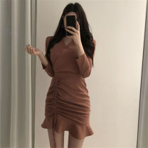 Dress Spring 2021 Khaki, black, brick red M,L,XL,2XL,3XL Middle-skirt singleton  Long sleeves commute V-neck middle-waisted Solid color Socket Ruffle Skirt routine 25-29 years old Type H Korean version other