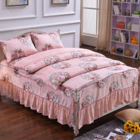 Bedding Set / four piece set / multi piece set 4 pieces Quilting 40 cotton Plants and flowers cotton San Anbe 128x70 Bed skirt Qualified products Simplicity cotton 100% twill pigment printing  19030 Thermal storage 6948566900133 Chinese Mainland public