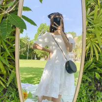 Dress Summer 2021 Picture color skirt S M L XL Miniskirt singleton  Short sleeve commute square neck Solid color A-line skirt Princess sleeve Others 18-24 years old Apricot curtain Korean version 6131# More than 95% Chiffon other Other 100%