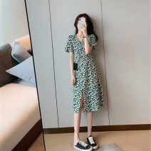 Dress Summer 2021 Long, short S,XL,2XL,L,M Mid length dress singleton  Long sleeves commute Crew neck Loose waist Broken flowers Socket routine Others 18-24 years old Type H One for one Korean version 81% (inclusive) - 90% (inclusive) other polyester fiber