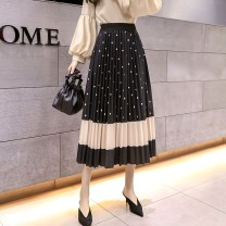 skirt Spring 2021 Average size Square card color, copper coin black, copper coin card color, dot card color, square black, dot black Mid length dress Versatile High waist Pleated skirt Type A 18-24 years old Q/13 71% (inclusive) - 80% (inclusive) other