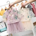Dress Pink, apricot female Other / other Cotton 100% summer Chinese style Long sleeves Broken flowers cotton A-line skirt 12 months, 6 months, 9 months, 18 months, 2 years old, 3 years old, 4 years old, 5 years old