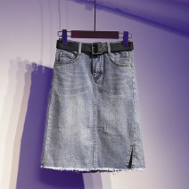 skirt Summer 2021 S [90-100 kg], m [100-110 kg], l [110-120 kg], XL [120-135 kg], 2XL [135-150 Jin], 3XL [150-165 kg], 4XL [165-175 Jin], 5XL [175-200 Jin] wathet Middle-skirt Versatile High waist A-line skirt Solid color Type A 71% (inclusive) - 80% (inclusive) Denim Ocnltiy cotton