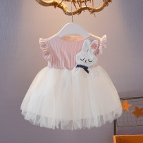 Dress Pink, grey female Other / other 66cm (66cm [0-4 months]), 73cm (73cm [4-8 months]), 80cm (80cm [8-16 months]), 90cm (90cm [1.5-2 years]), 100cm (100cm [2-3 years]), 110cm (110cm [3.5 years]) Cotton 100% summer princess Short sleeve Cartoon animation cotton Splicing style ML-XL1808 Class A