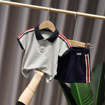suit Other / other Dark gray, 91478 black, 97164 white, 97235 white, 97235 brown 80cm,90cm,100cm,110cm,120cm male summer leisure time Short sleeve + pants 2 pieces Thin money No model Socket nothing stripe other children Expression of love gzg93162 other Cotton 100% Chinese Mainland Zhejiang Province