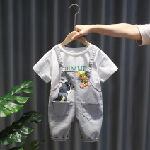 suit Other / other Light blue, light gray 80cm,90cm,100cm,110cm,120cm male summer leisure time Short sleeve + pants 2 pieces Thin money No model Socket nothing Cartoon animation cotton children Expression of love LYX204261754 Class A Cotton 100% Chinese Mainland Zhejiang Province Huzhou City