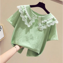 T-shirt Green lace collar top, orange lace collar top Other / other 110cm,120cm,130cm,140cm,150cm,160cm female Short sleeve leisure time No model cotton stripe Cotton 100% Class B 2, 3, 4, 5, 6, 7, 8, 9, 10, 11, 12 years old Chinese Mainland Guangdong Province Foshan City