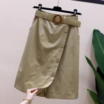 skirt Summer 2021 L,XL,2XL,3XL Black, khaki, brick red Middle-skirt commute High waist A-line skirt 18-24 years old F-21-4-10-7 More than 95% Denim Ocnltiy cotton Korean version