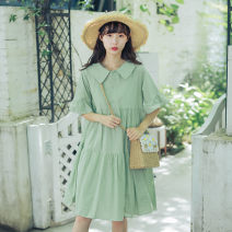 Dress Summer of 2019 Purple, green, apricot, pink XL,2XL,L,M Mid length dress singleton  Short sleeve Sweet Doll Collar High waist Solid color Socket A-line skirt Lotus leaf sleeve Others 18-24 years old Happy dream ice Lotus leaf edge 81% (inclusive) - 90% (inclusive) other