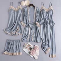 Pajamas / housewear set female Other / other M,L,XL,XXL Polyester (polyester) Long sleeves sexy pajamas summer Thin money V-neck Solid color trousers youth rubber string More than 95% silk lace I54382 Middle-skirt
