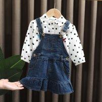Dress female Dr. Black  Cotton 95% other 5% spring and autumn fresh Skirt / vest Solid color Denim Cake skirt 2020-7.10-C04 Class A 12 months, 9 months, 18 months, 2 years old, 3 years old, 4 years old, 5 years old, 6 years old, 7 years old Chinese Mainland royal blue 90cm,100cm,110cm,120cm,130cm