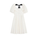 Dress Spring 2021 white S,M,L Mid length dress singleton  Short sleeve commute square neck Solid color Socket A-line skirt puff sleeve Type A Bow, open back