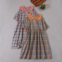 Dress Summer 2021 Micah, orange, blue and pink Average size Mid length dress singleton  Short sleeve Sweet Doll Collar Loose waist lattice Socket A-line skirt routine Type A Embroidery, pleats, pockets, stitching, buttons More than 95% cotton Mori