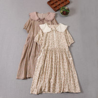 Dress Summer 2021 Apricot beige, milky Brown Average size Mid length dress singleton  Short sleeve Sweet Doll Collar Loose waist Broken flowers Socket A-line skirt routine Type A Lace, embroidery, pocket, lace, stitching, lace, printing More than 95% cotton Mori