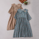 Dress Summer 2021 Deep khaki, dark cyan Average size Mid length dress singleton  Short sleeve Sweet Doll Collar Loose waist Broken flowers Socket A-line skirt routine Type A Stickers, embroidery, folds, pockets, stitching, buttons, lace 71% (inclusive) - 80% (inclusive) cotton Mori