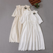 Dress Summer 2021 Milky white, apricot Average size Mid length dress singleton  Short sleeve Sweet Doll Collar Loose waist Solid color Socket A-line skirt routine Type X Tassels, embroidery, pockets, lace, stitching, buttons, lace More than 95% cotton Mori