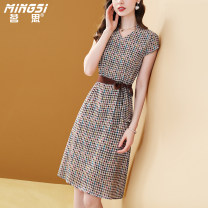 Dress Summer 2021 Decor S M L XL XXL Mid length dress singleton  Short sleeve commute V-neck middle-waisted houndstooth  Socket A-line skirt Wrap sleeves Others 35-39 years old Type A Mingsi lady Lace up printing More than 95% Silk and satin silk Mulberry silk 100% Pure e-commerce (online only)