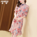 Dress Summer 2021 Decor S M L XL Mid length dress singleton  elbow sleeve commute other middle-waisted Big flower zipper A-line skirt routine Others 35-39 years old Type A Mingsi lady Button and zipper printing M21S14076 More than 95% Crepe de Chine silk Mulberry silk 100%