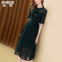 Dress Summer 2021 blackish green S M L XL XXL Mid length dress singleton  elbow sleeve commute other middle-waisted Solid color Socket A-line skirt pagoda sleeve Others 35-39 years old Type A Mingsi lady Lace up button zipper M21S13993 More than 95% Silk and satin silk Mulberry silk 100%