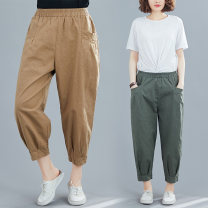 Casual pants Army green, khaki, black, collection plus purchase priority delivery M [recommended 95-125 kg], l [recommended 125-155 kg], XL [recommended 155-180 kg] Summer 2021 Ninth pants Haren pants Natural waist commute Thin money 51% (inclusive) - 70% (inclusive) hemp literature pocket hemp