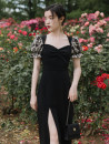 Dress Summer 2020 black S,M,L Mid length dress singleton  Short sleeve commute square neck High waist lattice zipper One pace skirt puff sleeve Type A More and more Retro Splicing other