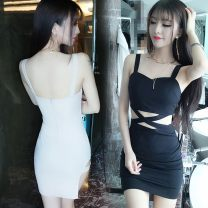 Dress Summer 2017 Apricot, black S, M Short skirt singleton  Sleeveless commute V-neck middle-waisted Solid color zipper One pace skirt camisole Type H Hollowing out 91% (inclusive) - 95% (inclusive) polyester fiber