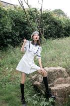 Dress Summer 2020 white S,M,L Short skirt singleton  Short sleeve Doll Collar High waist A-line skirt routine Others Type A 30% and below