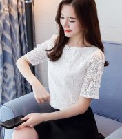 T-shirt Sky blue, off white S,M,L,XL,2XL Summer 2020 Short sleeve Crew neck Self cultivation have cash less than that is registered in the accounts routine commute polyester fiber 96% and above 18-24 years old Korean version Solid color Other / other Lace