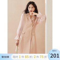 Dress Autumn 2020 XS S M L XL Mid length dress singleton  Long sleeves commute tailored collar High waist other double-breasted pagoda sleeve 25-29 years old Type X gorgeous clothing Korean version Splicing DSY0072LT303 More than 95% polyester fiber Polyester 100% Pure e-commerce (online only)