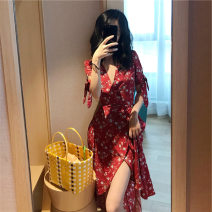 Dress Summer 2020 Picture color XL,L,M,XXL Mid length dress singleton  Short sleeve commute Crew neck middle-waisted Broken flowers Socket Pleated skirt routine Others 18-24 years old Splicing other polyester fiber