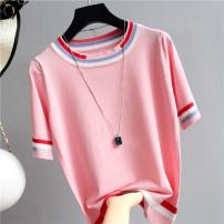 Wool knitwear Summer 2021 White, pink, black Short sleeve singleton  Socket cotton 31% (inclusive) - 50% (inclusive) Regular Thin money commute easy routine stripe Socket Korean version 18-24 years old Other / other