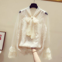 Lace / Chiffon Spring 2021 White, apricot S. M, l, XL, 2XL, RMB 19 from 500 pieces Long sleeves Sweet Socket singleton  easy Regular V-neck Solid color Flying sleeve 18-24 years old Other / other 31% (inclusive) - 50% (inclusive) princess