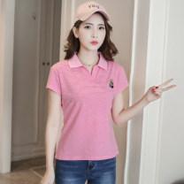 T-shirt L,XL,2XL,3XL Summer 2020 Short sleeve easy Regular routine commute cotton 51% (inclusive) - 70% (inclusive) Korean version youth