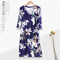 Nightdress M L XL XXL 3XL luxurious Middle sleeve Living clothes Middle-skirt summer Plants and flowers youth V-neck viscose  printing 81% (inclusive) - 95% (inclusive) Modal fabric 200g and below Summer of 2018 Viscose fiber (viscose fiber) 94% polyurethane elastic fiber (spandex) 6%