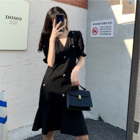 Women's large Summer 2021 black Large L, large XL, large XXL, large XXL, large XXXL Dress singleton  commute thin Socket Short sleeve Korean version other polyester 18-24 years old