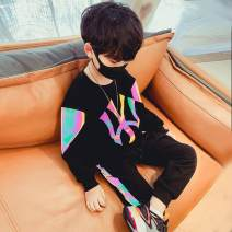 suit Other / other Black color suit, KK suit, Martha suit, bronzing suit, ygsd suit 100cm,110cm,120cm,130cm,140cm,150cm,160cm male spring and autumn Korean version Long sleeve + pants 2 pieces routine There are models in the real shooting Socket Solid color cotton children Giving presents at school