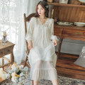 Nightdress Yierle Average size Sweet Long sleeves Leisure home longuette autumn other youth V-neck viscose  lace More than 95% Modal fabric