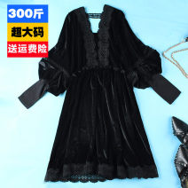 Women's large Spring 2020 black 2XL: reference weight 140-190 kg, 3XL: reference weight 195-215 kg, 4XL: reference weight 220-240 kg, 5XL: reference weight 250-300 kg Dress singleton  commute easy moderate Socket Long sleeves Solid color lady V-neck Collage bishop sleeve 25-29 years old Hollowing out