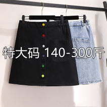 skirt Summer 2020 2XL,3XL,4XL,5XL,6XL Blue, black Short skirt commute High waist A-line skirt Solid color Type A 18-24 years old 71% (inclusive) - 80% (inclusive) other cotton Button Korean version