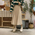 skirt Autumn 2020 Average size Apricot, brown, grass green Mid length dress commute High waist Pleated skirt Solid color Type A 18-24 years old 31% (inclusive) - 50% (inclusive) brocade Other / other polyester fiber Korean version