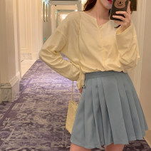 skirt Spring 2021 S,M,L Light blue, dark blue Short skirt commute High waist Pleated skirt Solid color 18-24 years old 31% (inclusive) - 50% (inclusive) Other / other polyester fiber