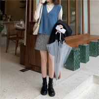 skirt Autumn 2020 S, M Blue, apricot, pink Short skirt commute High waist A-line skirt Broken flowers Type A 18-24 years old 31% (inclusive) - 50% (inclusive) Other / other cotton Korean version