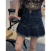 skirt Summer 2021 S,M,L Dark blue Short skirt commute High waist A-line skirt Solid color Type A 18-24 years old 31% (inclusive) - 50% (inclusive) Denim Other / other cotton Korean version