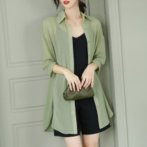 shirt green M,L,XL,2XL Summer 2021 silk 96% and above Long sleeves commute Medium length V-neck other shirt sleeve Solid color 30-34 years old Straight cylinder Juzui / Jiuzi JC  A1025-55-128 Asymmetric, 3D, thread, splicing, taping, resin fixation, lace up, fold, bandage Chiffon