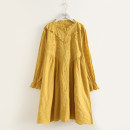 Dress Autumn 2020 Yellow, cyan Average size Middle-skirt singleton  Long sleeves stand collar Loose waist Solid color Single breasted A-line skirt Lotus leaf sleeve Type A Buttons, ruffles, lace, embroidery, stitching More than 95% cotton