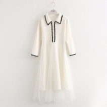 Dress Autumn 2020 White, black Average size Mid length dress singleton  Nine point sleeve commute Polo collar High waist Solid color Socket Big swing routine lady Stickers, gauze, buttons